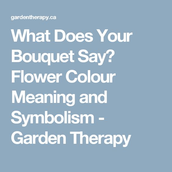 What Does Your Bouquet Say? Flower Colour Meaning and Symbolism - Garden Therapy
