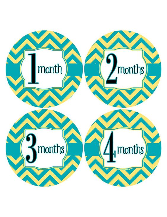 Chevron New Baby Sticker Monthly Age Stickers by MoonLitPrintables