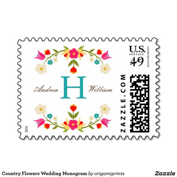 Country Flowers Wedding Monogram Postage Stamp