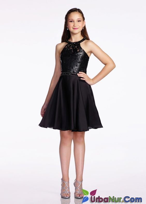 12 Yas Abiye Mezuniyet Elbise Modelleri Siyah Kisa Halter Yaka Klos Etek Ust Kismi Cicek Baskili Dresses For Tweens Homecoming Dresses Girls Dresses