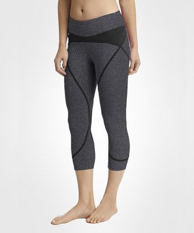 Another great find on #zulily! Phantom Heather & Black Solstice Capri Leggings #zulilyfinds
