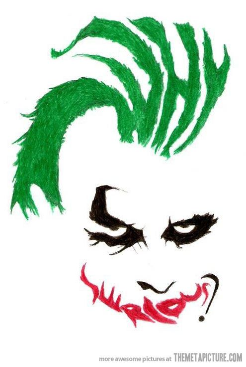 """Yes, usually I don't particularly like the joker, but this hidden message is really creative. :) see if you can find the """"why so serious"""" quote"""