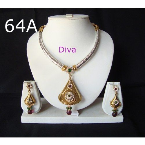 Tribal Silver Gold plated Antique Indian Bollywood Kundan Necklace Set Jodha Designer Bollywood