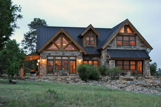 Colorado log and stone waterfront retreat near telluride for Log and stone homes
