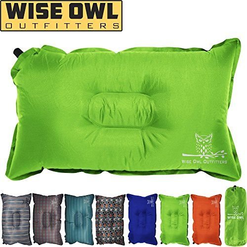 Wise Owl Outfitters Camping Pillow Lightweight Self Inflating Inflatable Foam Air Compact Camp Pillow Best Lumbar Support Travel Airplane Camping Beach Ha Camping Pillows Beach Hammock Camping Trips