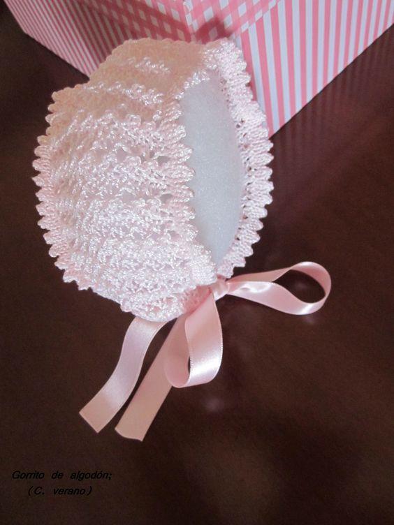 Gorrito de algodón con cinta de raso (verano)