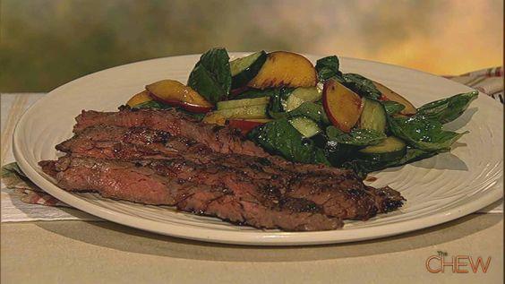 Steak with peach cucumber salad recipe skirt steak mario batali