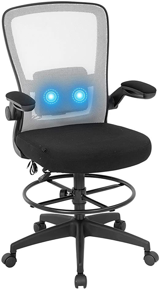 Drafting Chair Office Chair Computer Chair Adjustable Height With Lumbar Support Arms Footrest Massage Mesh Task Des In 2020 Computer Chair Drafting Chair Office Chair