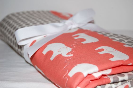 Organic coral and grey elephant quilt. $65.00, via Etsy.