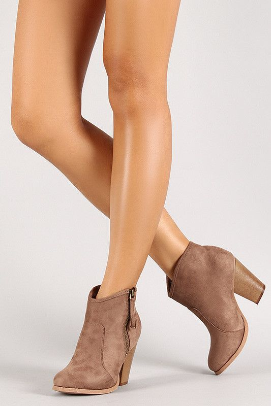 These ankle boots feature a round toe silhouette, chunky heel, cushioned insole…