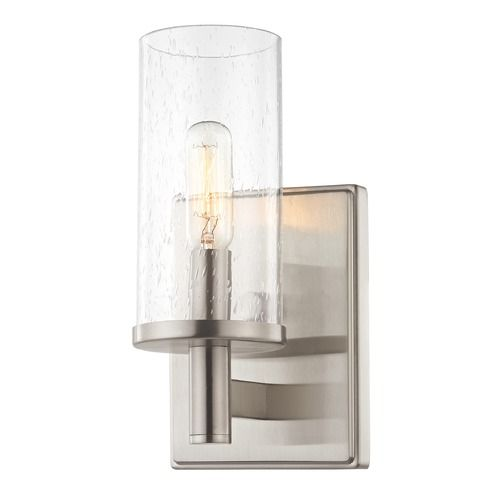 Seeded Glass Sconce Satin Nickel Sconces Glass Modern Chandelier