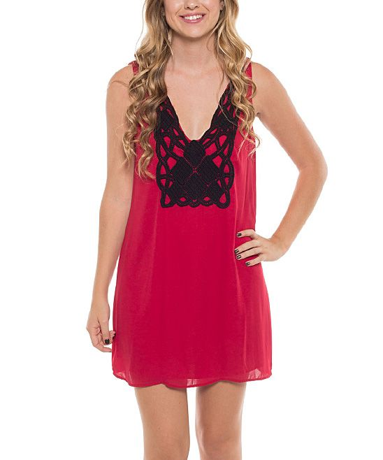 Coveted Clothing Red & Black Embroidered Sleeveless Shift Dress | zulily