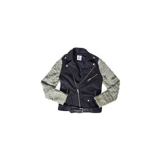 UNIF Strips Leather Rider Jacket | Dolls Kill ($350) ❤ liked on Polyvore