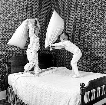 pillow fight.. I remember doing this many a time ..never had the pleasure of Feathers flying though ..that would have been even more fun ! Wa- hooooo !: