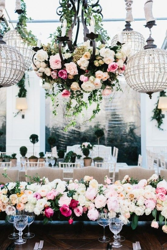 Greenery and floral wedding chandelier | fabmood.com
