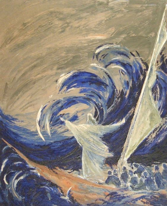 """Macha Chmakoff NOUVEAU TESTAMENT et Saints - La tempête apaisée n°1 """"Seigneur sauve nous, nous périssons"""" Matthieu 8,25"""