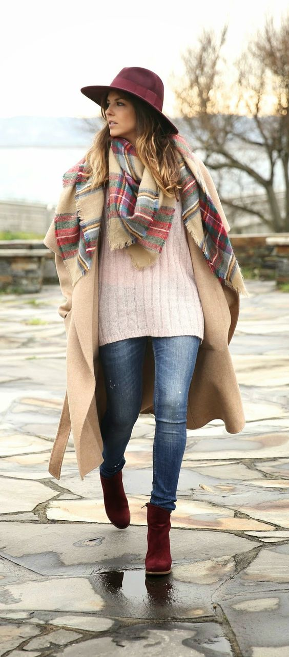 Winter Fashion 2015. Loving this Oversized Coat, Plaid Scarf & adorable Burgundy Booties. ::M:::