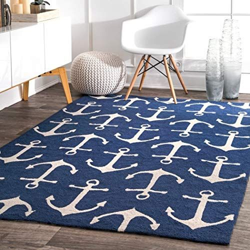 Ln 5x8 Blue White Nautical Anchors Area Rug Rectangle Shaped Indoor Outdoor Navy Boat Carpet For Pa In 2020 Indoor Outdoor Area Rugs Nautical Rugs Indoor Outdoor Rugs