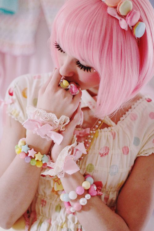 pink pastel hair & rainbow macaron hair bow: