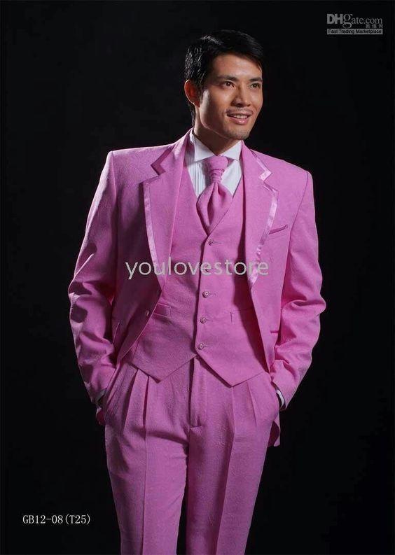 Groomsman Best Man Pink Wedding Suit Idea's For Men