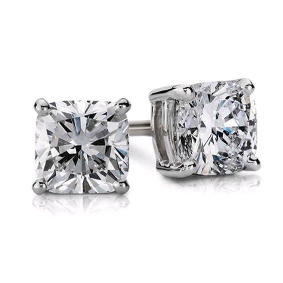 1.00 Carat GIA Cushion Cut H-I VVS1-VVS2 Ladies Diamond Stud Earrings 14k Gold  #DiamondsByElizabeth #Stud