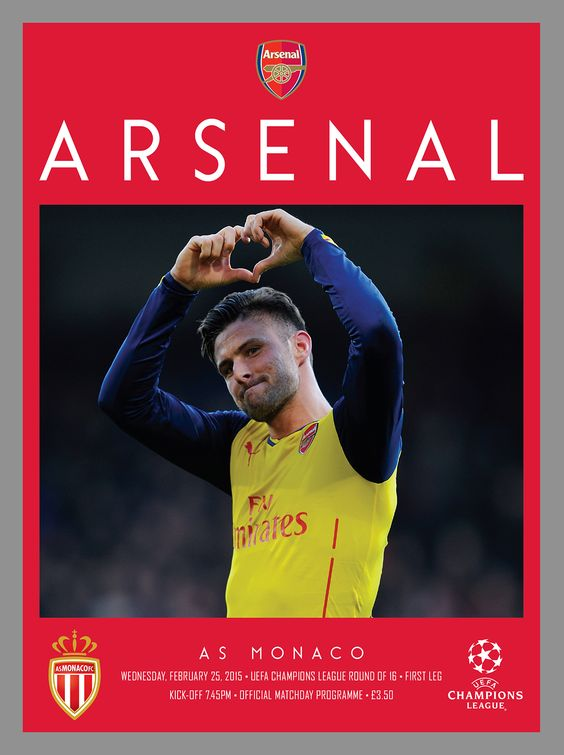 v AS Monaco. February 25, 2015. The official Arsenal Matchday programme.