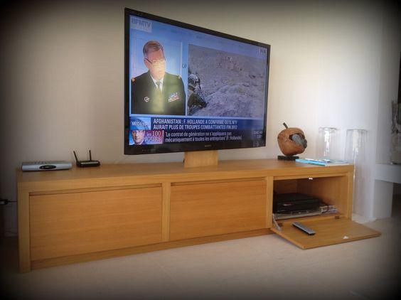 meuble tv sur mesure 3 portes en façade avec amortisseurs intégrés ... - Meuble Tv Sur Mesure Design