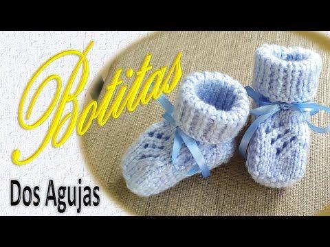 Botita Para Bebé Dos Agujas Ajuar Azul Youtube Agujas Botitas Tejidas Para Bebe Pelele Bebe Patron