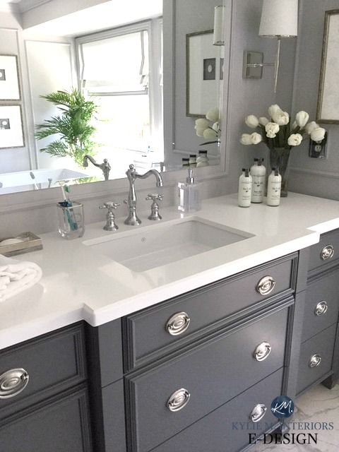 The 6 Best Paint Colours For A Bathroom Vanity Including White Kylie M Interiors Painted Vanity Bathroom Painting Bathroom Cabinets Grey Bathroom Vanity