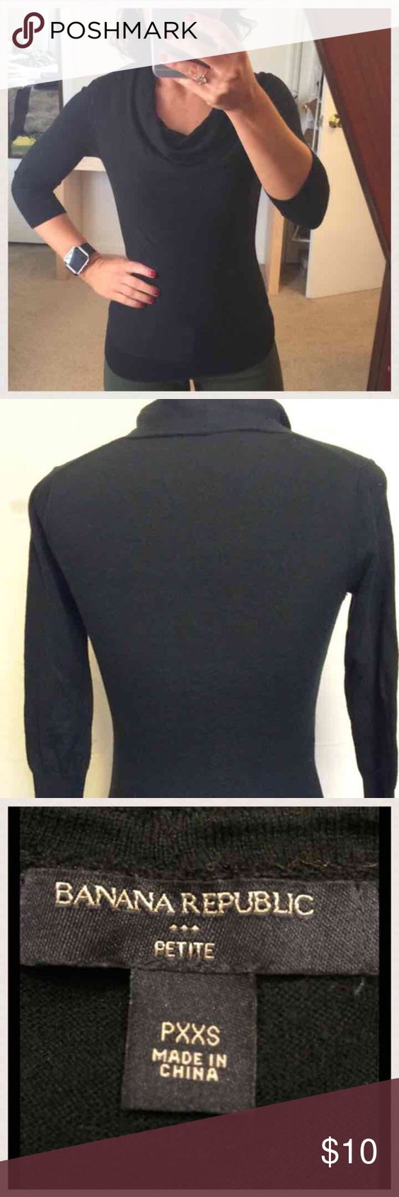 🔴2/$12 3/$17🔴Banana Republic Cowl Neck Sweater. BR - Black Cowl ...