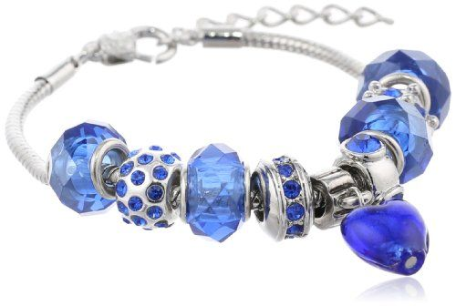 """Charmed Feelings Blue Murano Style Glass Beads and Charm Bracelet, 7.25"""" + 1.5"""" Extender Amazon Curated Collection http://www.amazon.com/gp/product/B004VB3R0O?ie=UTF8&camp=1789&creativeASIN=B004VB3R0O&linkCode=xm2&tag=myswecit-20"""