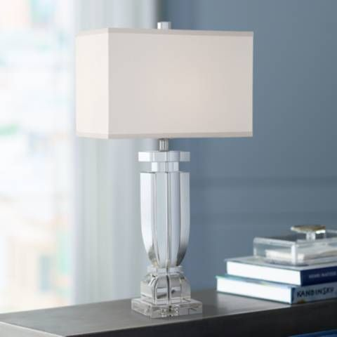 Emilia Crystal Table Lamp With Rectangular Shade 39p91 Lamps Plus Crystal Table Lamps Table Lamp Lamp