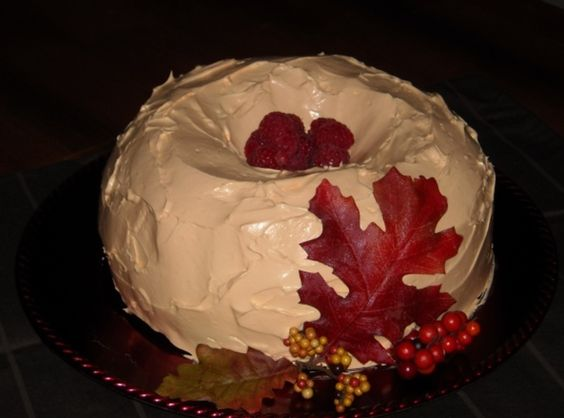 Autumn Pumpkin Raspberry Bundt Cake