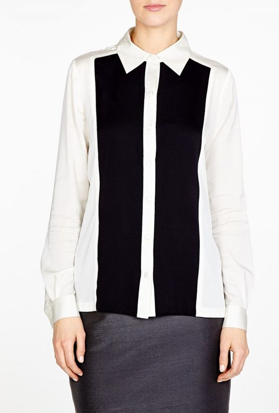 Monochrome Panelled Silk Blouse