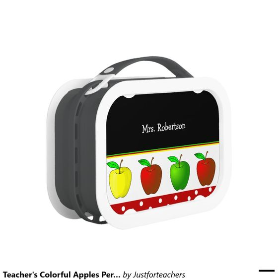 Teacher's Colorful Apples Personalized Lunch Box