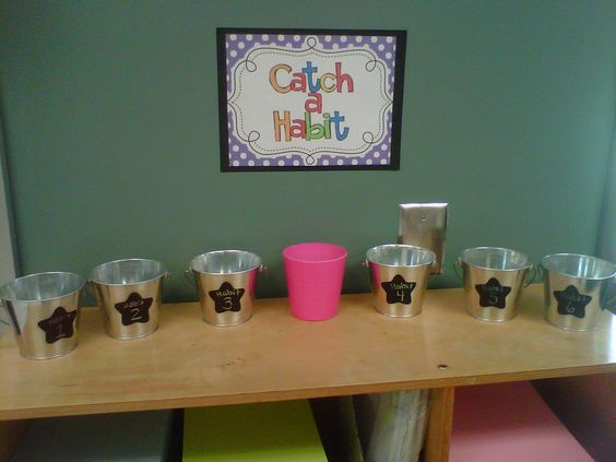 """""""Catch a Habit"""": Set out buckets labeled w/ the 7 Habits. When peers notice each other demonstrating the habits, they fill out a slip and put it in the bucket with that student's name and what they did. (Only someone else can nominate you!) Teachers could have a raffle every week for students who demonstrate the habits! Leader in Me ideas!"""