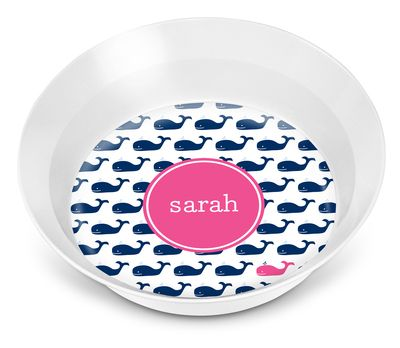 Navy Whale Repeat Children's Melamine Bowl