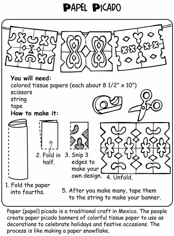 Instructions for Mexican style Papel Picado (perforated paper). This paper craft is used at Dia de los Muertos festivales.