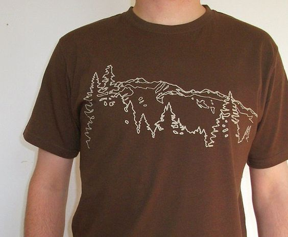 Organic Cotton Mens T shirt avec Mountain Ridge en marron - vente 15 % de réduction on Etsy, 30,33 $ CAD