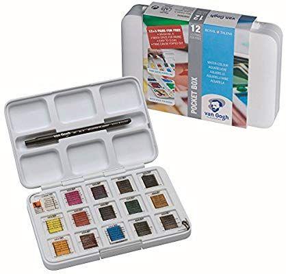 Amazon Com Van Gogh Pack Of 12 Watercolors 3 Pocket Box Brush