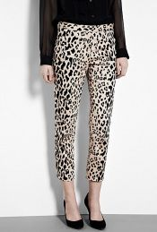Cheetah Print Stretch Sateen Trousers
