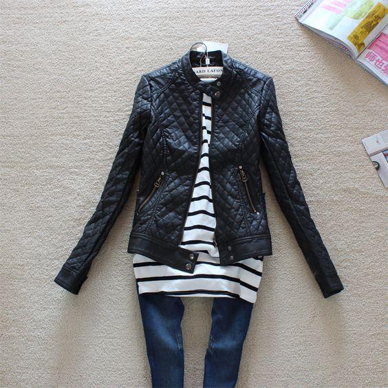 2014 gran marca moda mujer motocicleta chaqueta de cuero delgado otoño invierno mujeres pu cuero fwo10909 trinchera abrigo en Cuero y Ante de Moda y Complementos en AliExpress.com   Alibaba Group