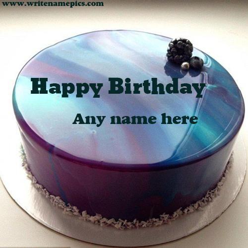 Tremendous Royal Blue Happy Birthday Cake With Name Photo Cake Name Happy Personalised Birthday Cards Fashionlily Jamesorg