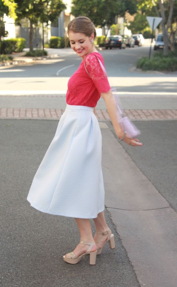 It's a day late, but our latest post is now live on #theprofessionalcinderella.com, featuring a skirt that's making a return appearance to the blog.   : Chelsey Landford  #ootd #outfitoftheday #lookoftheday #fashion #fashiongram #style #love #beautiful #currentlywearing #lookbook #wiwt #whatiwore #whatiworetoday #ootdshare #outfit #clothes #wiw #mylook #fashionista #todayimwearing #lace #raspberry #midiskirt #forevernew