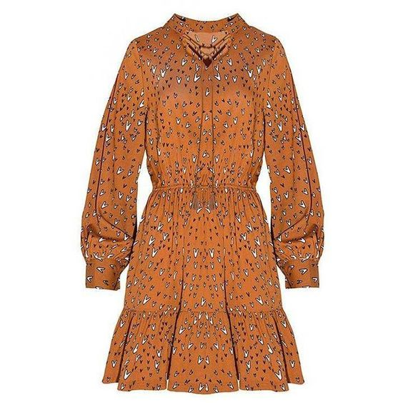 Yoins Yoins Tie Neck Mini Dress (£19) ❤ liked on Polyvore featuring dresses, camel, short dresses, camel dress, tie neck dress, orange necktie and neck ties