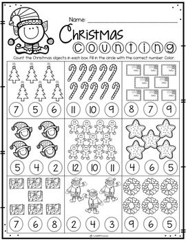 Christmas No Prep Printables Prek And Kindergarten Christmas Kindergarten Christmas Math Worksheets Christmas Worksheets