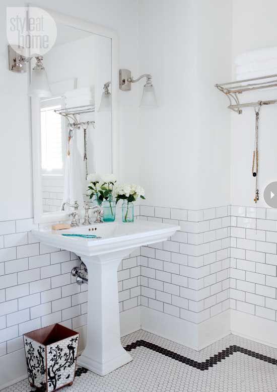 White wall tiles tile and wall tiles on pinterest for Bathroom half wall tile