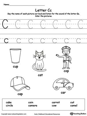 Trace Words That Begin With Letter Sound: C | Fine motor, The o ...