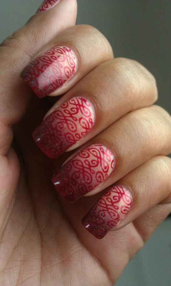 Clear to Red Gradient w Stamping