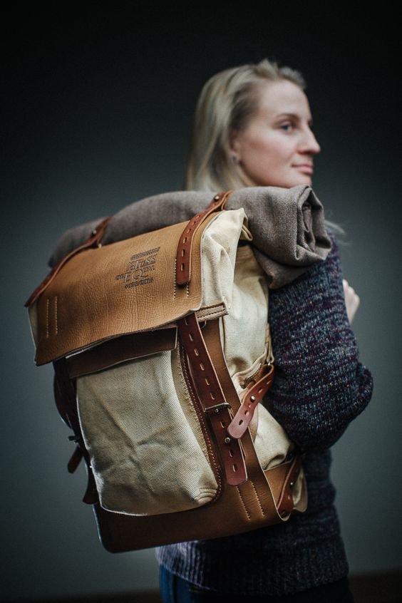 Leather and canvas backpack...